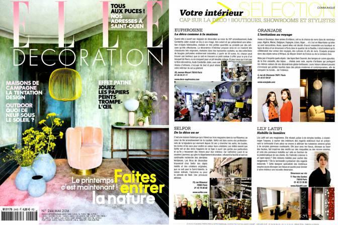 ELLE Décoration - Lily Latifi habille la lumière - Avril 2016