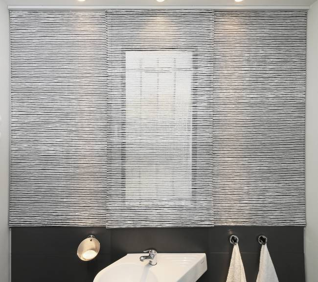 """siesta"" design on sliding panels in transparent fabric"