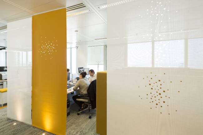Space dividers in yellow felt with our « city lights » design & in white sun screen mesh with our « little windows » design