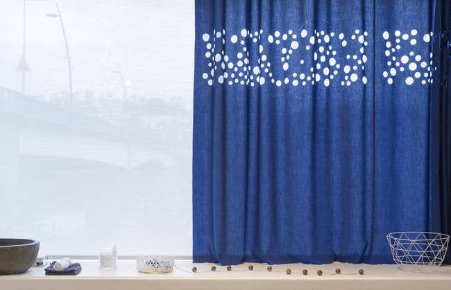 Translucent flat curtains in ultra marine blue details