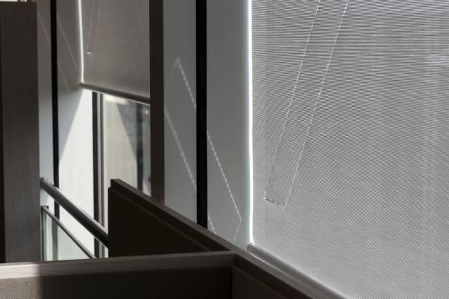 Detail of light effects on roller blind