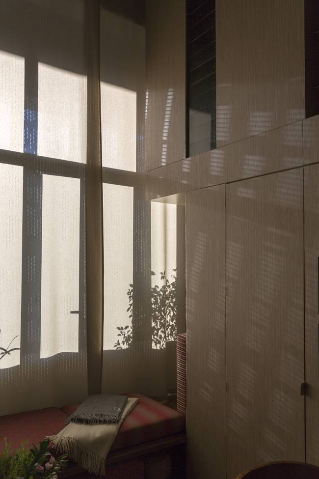 """4 - sliding panels made of a flannel fabric with my """"cloud of lines"""" design"""