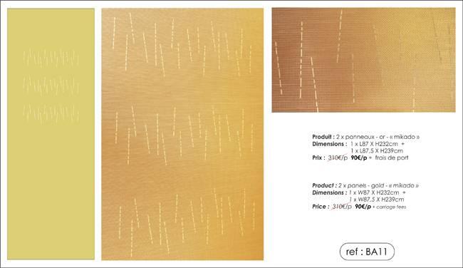 """2 panneaux écrans solaires - coloris or - dessin """"mikado"""""""