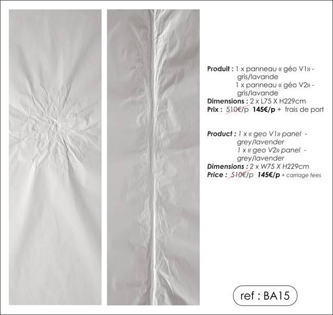 2 panneaux trompe-l'oeil - coloris gris/lavande - modèle géo