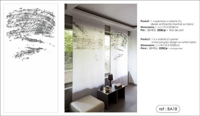 """1 """"celeste 2"""" panel in translucent white fabric"""