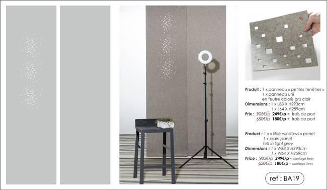 2 panneaux en feutre - coloris gris clair