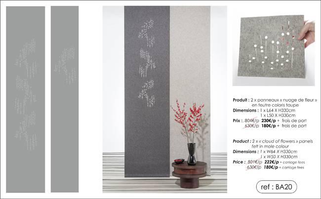 """2 """"cloud of flowers"""" panels in felt"""