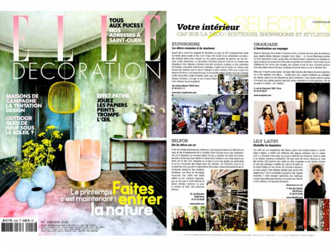 press release - Lily Latifi in Elle Décoration - French edition