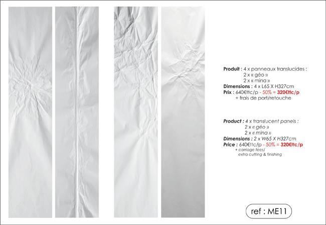 """Panneaux translucides trompe l'oeil """"géo"""" et """"mina"""""""