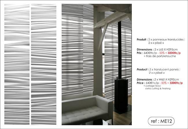 """panneaux translucides trompe l'oeil """"plissé"""""""