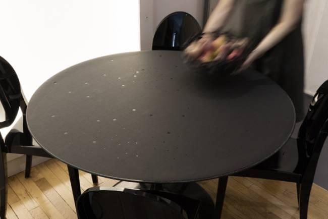 """nappe ronde couleur charbon design """"voie lactée"""""""