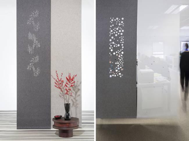 sliding panels in grey felt