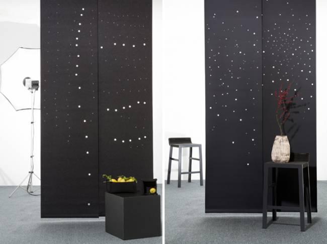 sliding panels in black felt