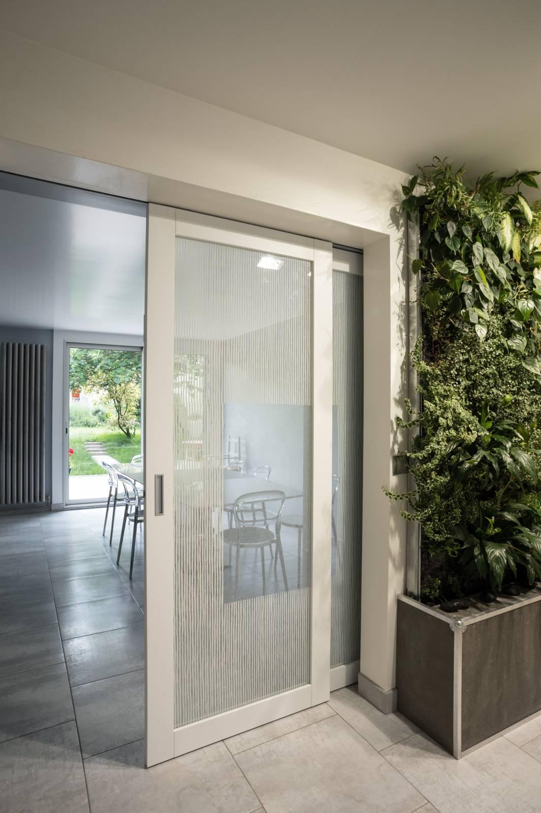 """Transparent glass panels : """"Siesta V"""" white"""
