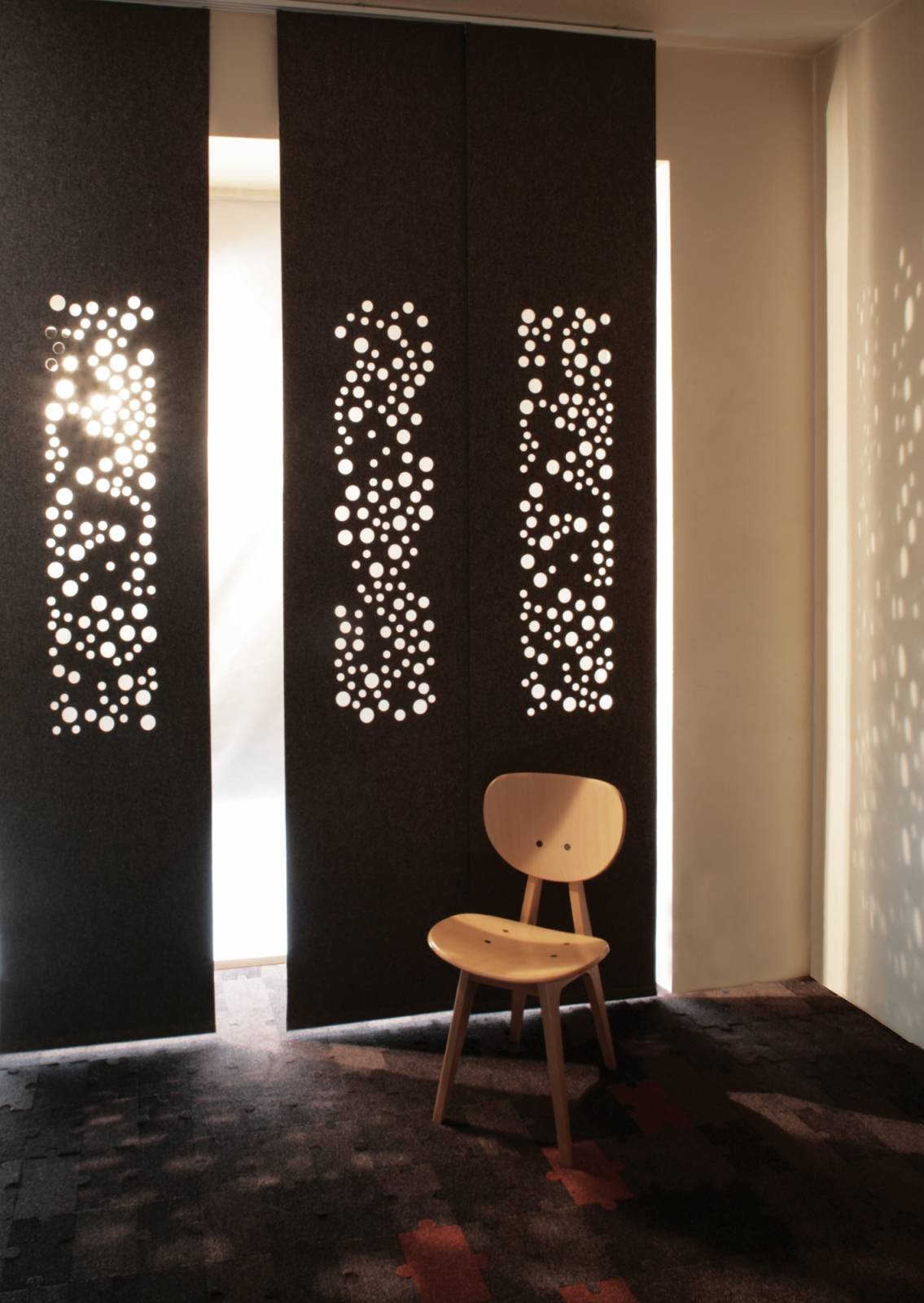 """Bubbles"" blackout sliding panels"