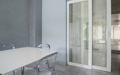 "Transparent glass panels: ""sieste vertical"" blanc"