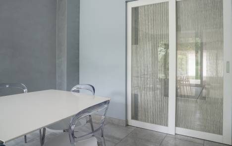 "Transparent glass panels : ""Siesta V"" white - 6"