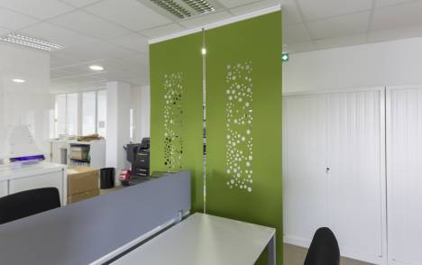 """Bubbles"" acoustic sliding panel - example 1"