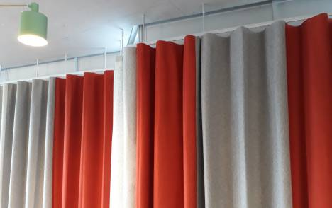 View of XL wave curtains delivered to client