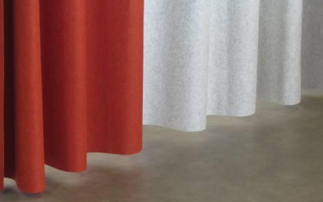 Réalisation feutre acoustique rideaux cintrés-détail
