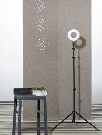 """Little windows"" acoustic sliding panels"