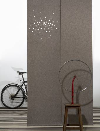 """Namad"" sliding panels - Acoustic Felt - City lights"