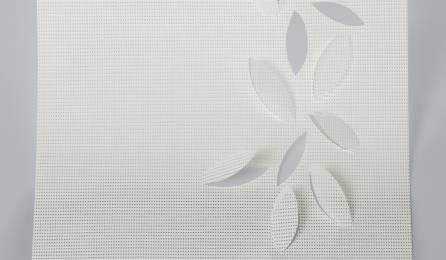 """Tissu """"Guirlande de feuilles"""" écran solaire pour panneaux japonais : 86 blanc"""