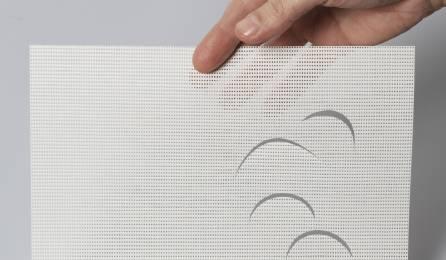 """Tissu """"Petites lunes"""" écran solaire pour panneaux japonais : 86 blanc"""