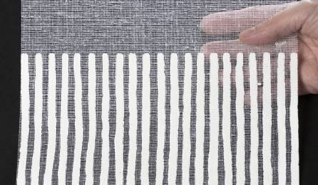 """Tissu """"Sieste V"""" pour panneaux japonais transparents : échantillon blanc"""