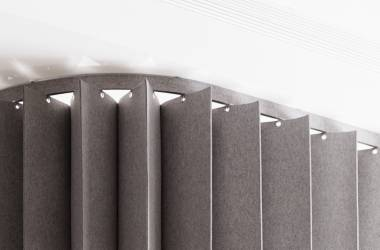 """namad"" pleating panels in acoustic felt"